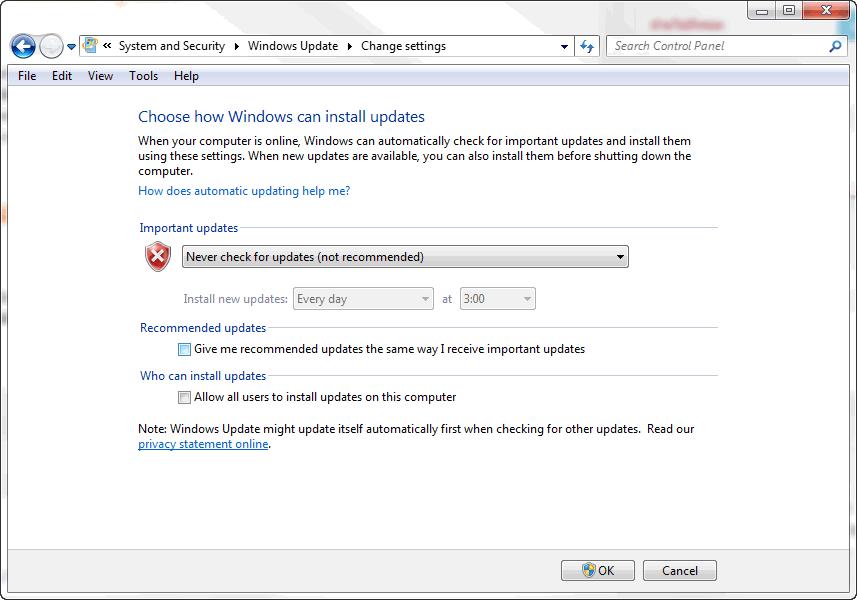 วิธีการปิด Windows Update